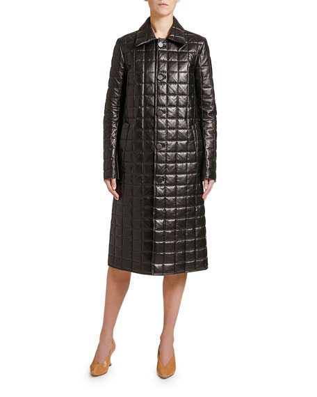 Quilted Napa Leather Button-Front Coat