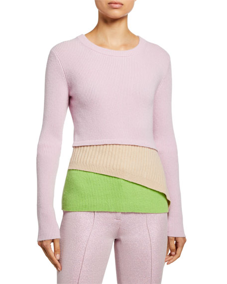 Wool-Cashmere Asymmetric Layered Sweater