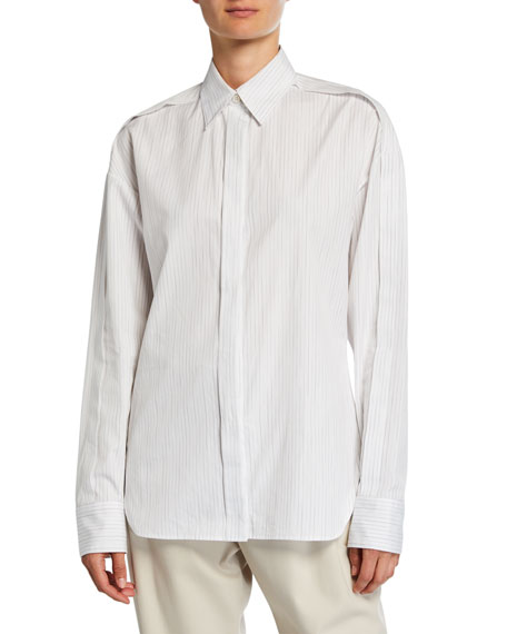 Roden Faded Pinstripe Button-Down Cotton Shirt