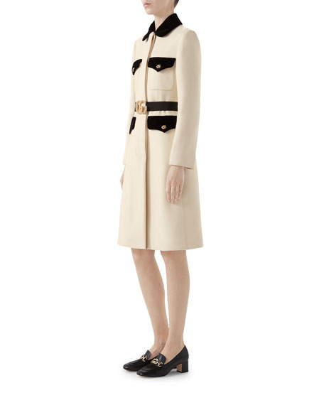 Tiger-Button Front Wool Coat
