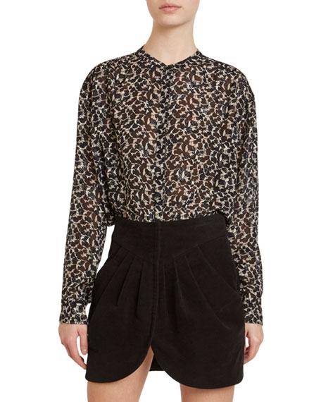 Shimmered Silk Chiffon Printed Shirt