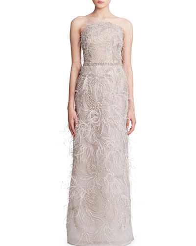 Feather-Trimmed Embroidered Tulle Strapless Gown