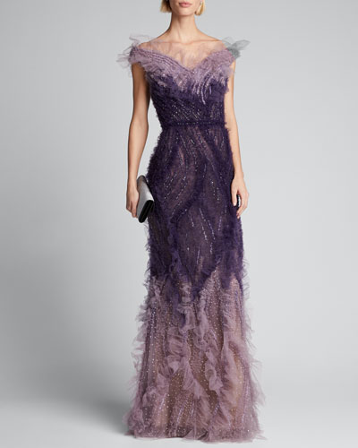 Ombre Tulle Off-the-Shoulder Gown