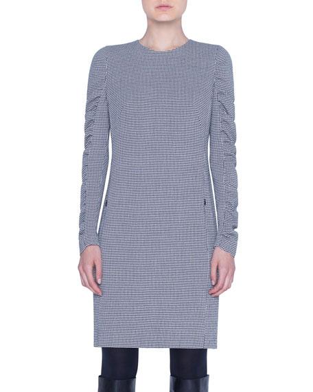 Houndstooth Ruffled Long-Sleeve Sheath Dress