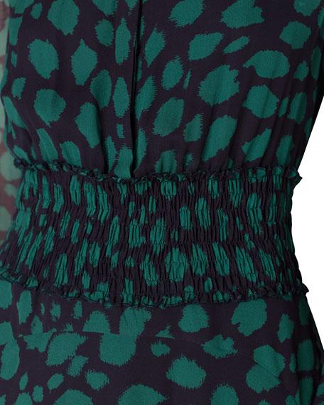 Animal Print Ruffled Chiffon Shirtdress