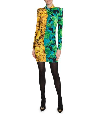 High-Neck Two-Tone Printed Mini Dress