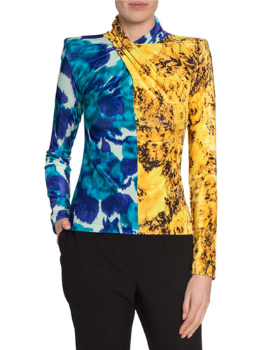 Twisted Mixed-Print Velour Top