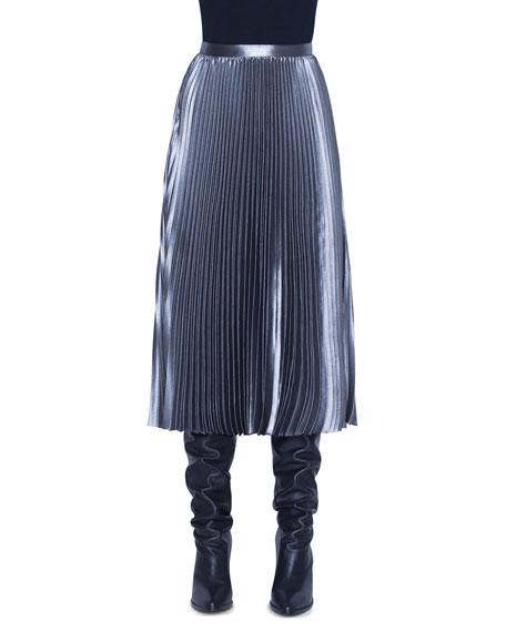 Metallic Crepe Plisse Midi Skirt