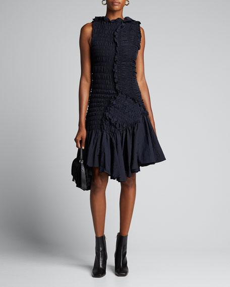 Shirred Taffeta Asymmetric Flounce Dress