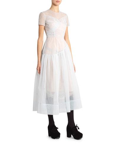 Tulle Short-Sleeve Tea-Length Dress