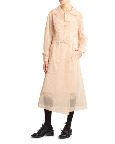 Tulle Belted Trench Coat