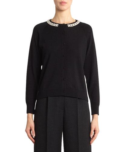 Wool-Silk Pearly-Beaded Crewneck Sweater