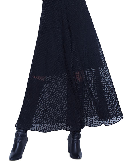 Dotted-Lace Illusion Maxi Dress