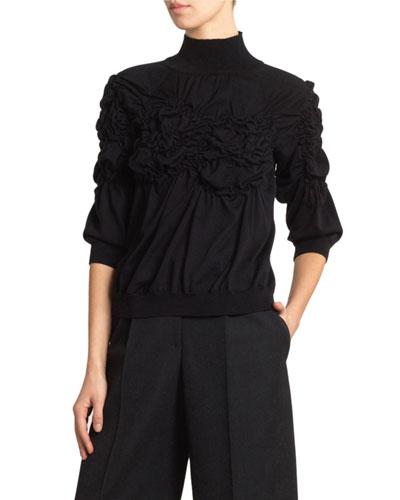 Ruched Flower Turtleneck Sweater
