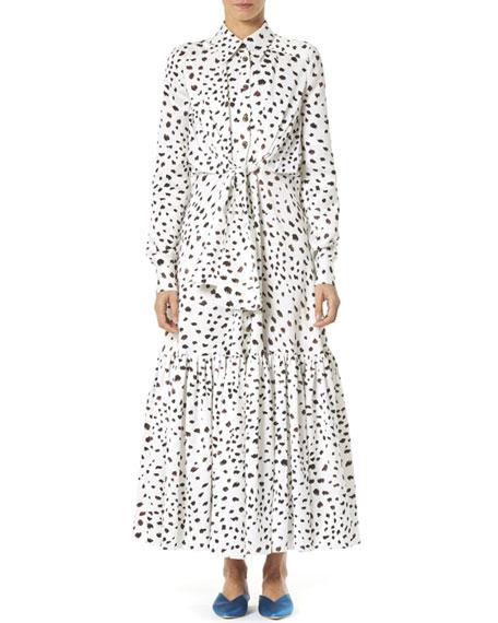Dotted Ruffle-Hem Maxi Shirtdress