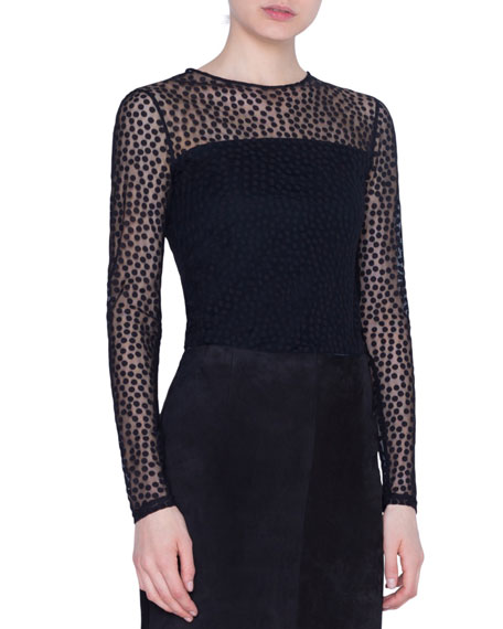 Dotted Stretch Tulle Illusion Shirt