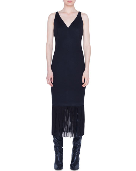 Jersey Fringed-Hem Midi Dress