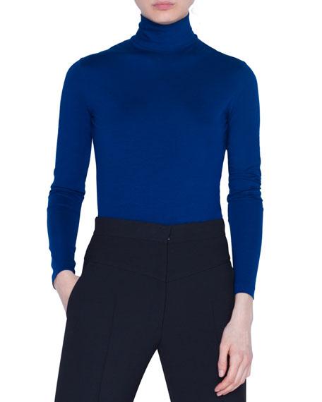 Jersey Turtleneck Long-Sleeve Top