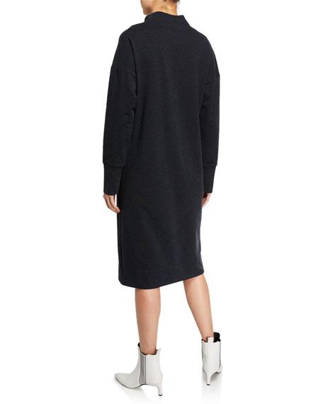 Mock-Neck Stretch Cotton Shift Dress