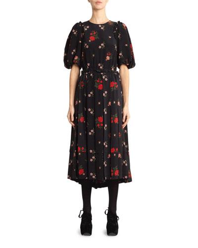 Floral-Print Pleated Georgette Dress