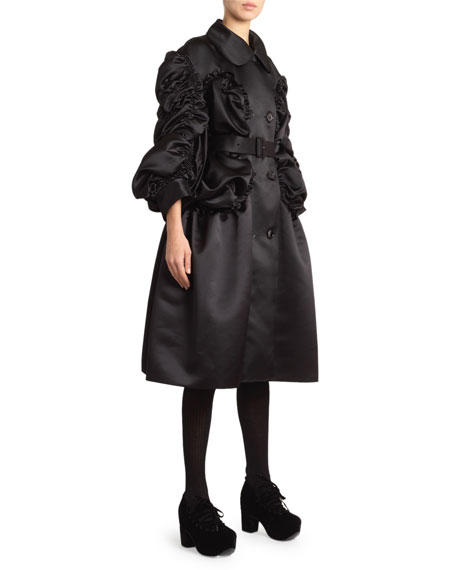 Ruched Satin Double-Breasted Coat