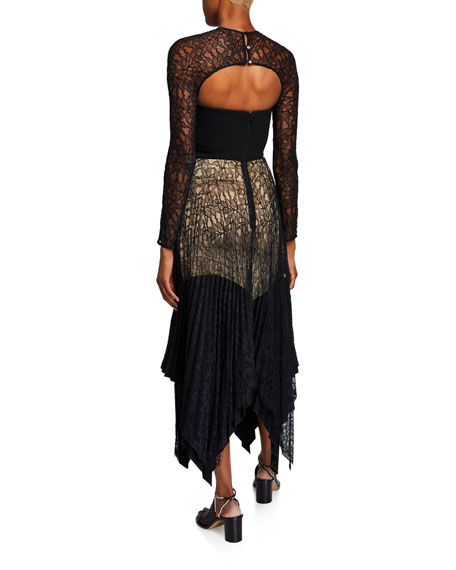 Lace-Paneled Cutout Asymmetric Dress