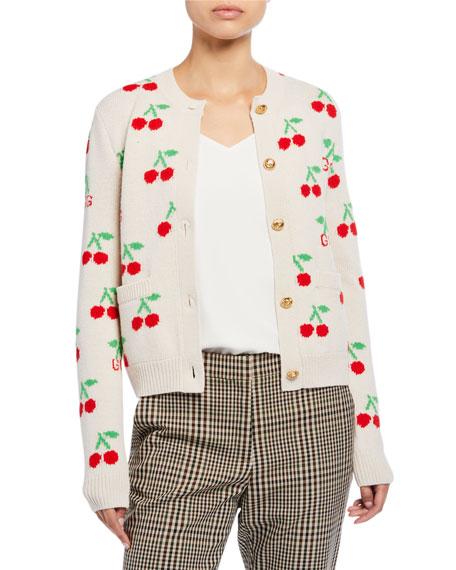 Cherry Jacquard Wool Cardigan