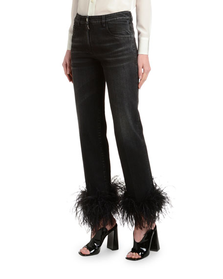 Ostrich Feather-Cuff Straight-Leg Jeans