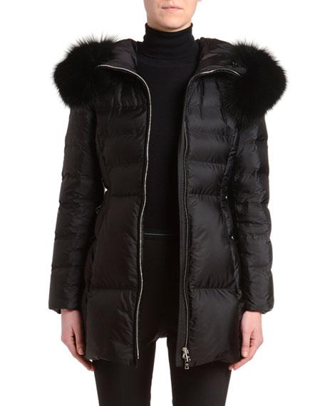 Fox Fur-Trim Puffer Jacket