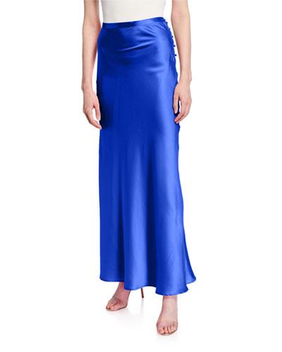 Florence Silk Satin Bias-Cut Ankle-Length Skirt  Blue