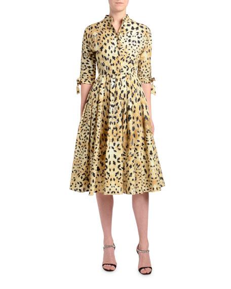1/2-Sleeve Leopard-Print Poplin Shirtdress