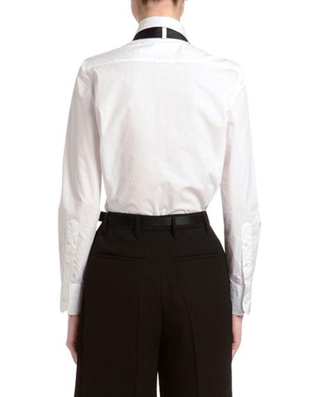 Long-Sleeve Poplin Shirt w/ Crystal Tie