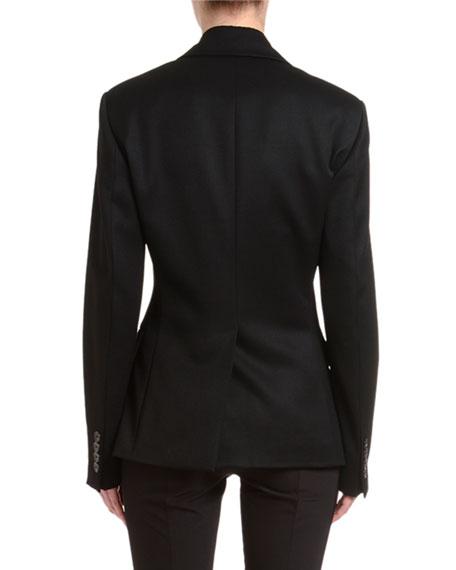 Wool Satin Wide-Lapel Jacket