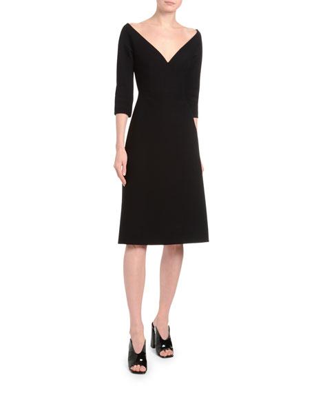 1/2-Sleeve Off-the-Shoulder V-Neck Dress