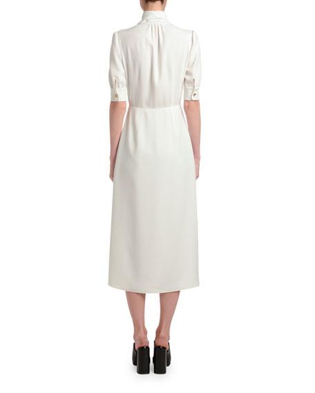 Satin Button-Front Tie Neck Dress