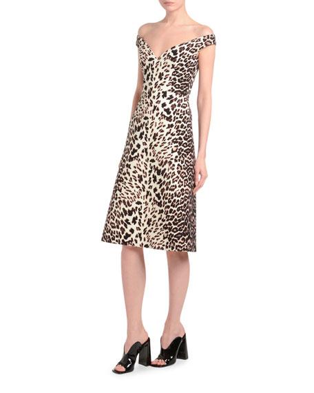 Leopard-Print Off-the-Shoulder Dress
