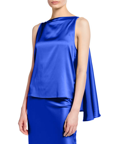 Judy Knot-Front Silk Top  Blue