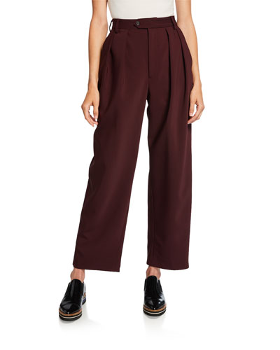 Pleated Bonded Wool Pants