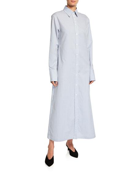 Nye Striped Button-Down Cotton Shirtdress