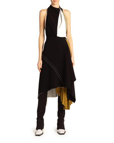 Halter-Neck Colorblocked Jersey Dress