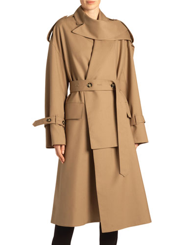 High-Neck Wool Trench Coat