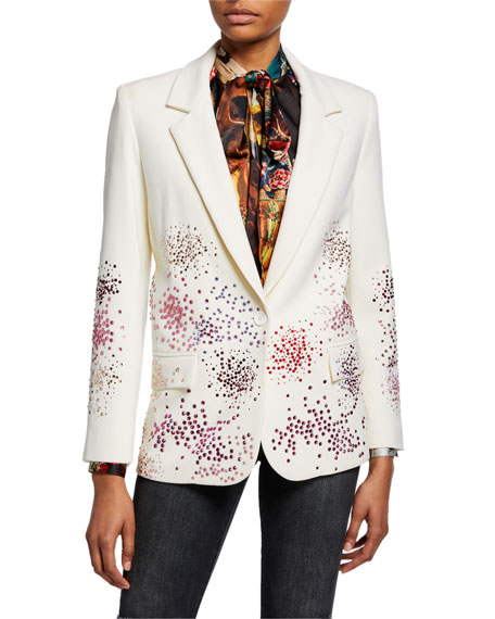 Mo' Monet Mo' Problems Spray Paint Crystals One-Button Long Blazer