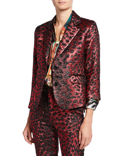 Metallic Cat Glittery Cheetah-Print Blazer