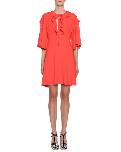 Crepe Flutter-Sleeve Ruffled Neck Dress