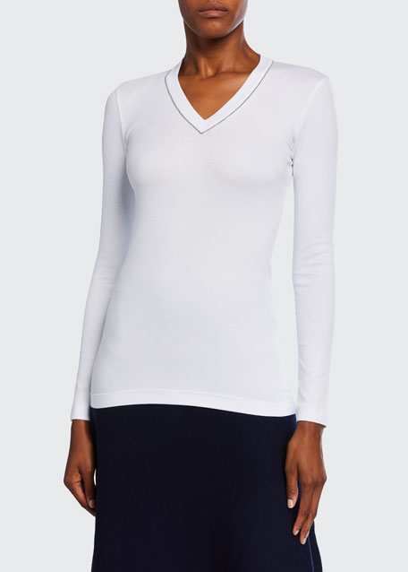 V-Neck Long-Sleeve Rib Cotton Top w/ Monili Trim