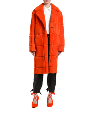 Off-White Checkered Shearling Coat