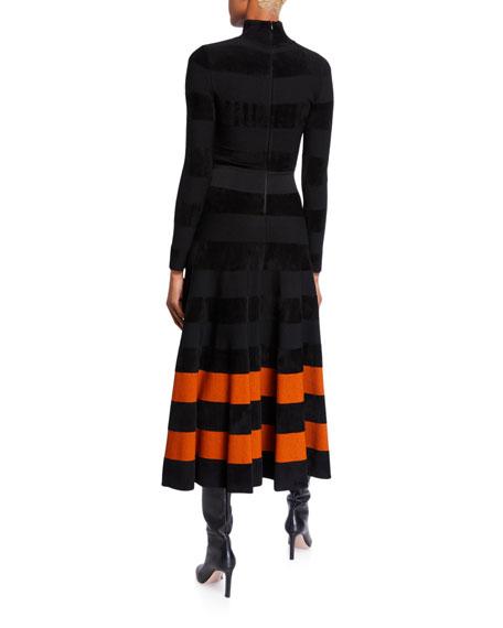 Jersey Turtleneck Striped-Hem Dress