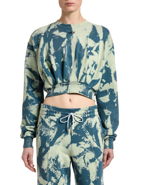 Off-White Cropped Tie-Dye Sweatshirt
