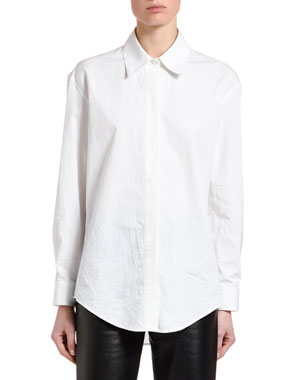 Off-White Collared Poplin Button-Front Top
