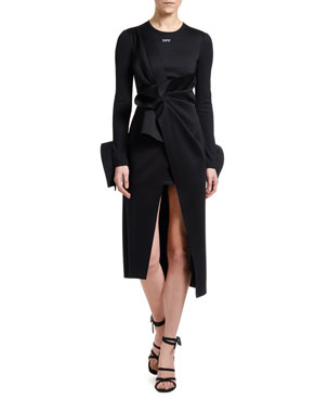 Off-White Jersey Wrapped Tie-Front Midi Shirtdress